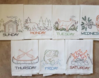 Northwoods Medley Days of the Week Embroidered Flour Sack Dish Towels