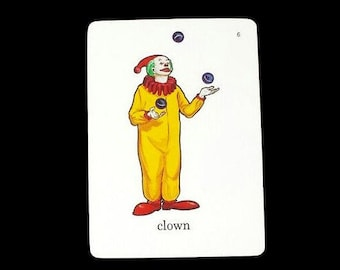 Clown Flashcards Illustrated Vintage Circus Picture Word Flash Cards Paper Ephemera Collage Scrapbooking Mixed Art Juggling Kids Room Decor