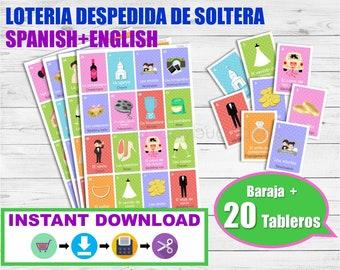 Lotería Despedida de soltera Inglés-Español para imprimir. Juego despedida de soltera. Archivo PDF. Printable Spanish Bingo Bridal Shower.