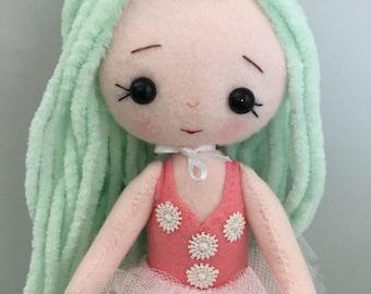 Gingermelon ballerina doll. Individual handmade doll. My Felt Doll. Heirloom doll.