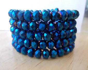 5 Row Metallic Blue Crystal Beads Memory Wire  Cuff Bracelet