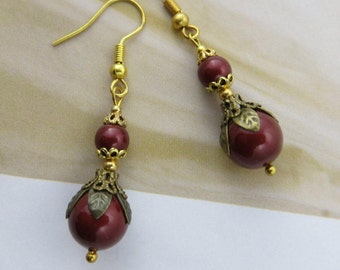 RED PEARL Earrings Drop Earrings Brass Antique jewelry Mothers Day Gift Victorian Swarovski wedding earrings bridesmaid earrings jewellery