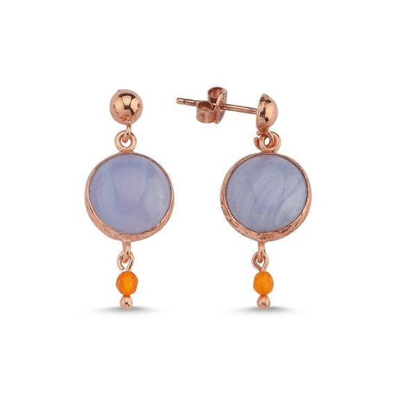 Silver Blue Lace Agate Earrings, Rose Gold Agate Earrings, Natural Blue Lace Agate, Blue Lace Agate Earrings ,Dainty Earrings , Gift For Her