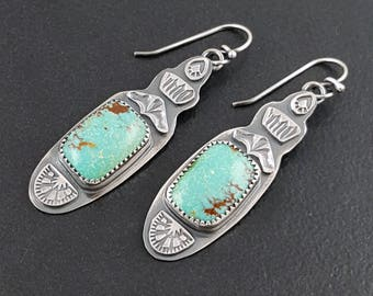 Turquoise Dangle Earrings, sterling silver, natural turquoise earrings, dangle earrings, michele grady, stamped, blue green turquoise