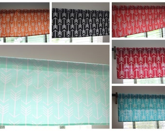 SALE***Tribal Arrow Window Valance Curtain-- Premier Prints. 14x52 inches. In mint, orange, gray, coral, turquoise, red, and black
