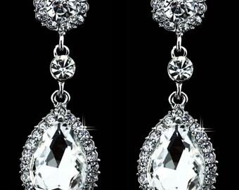 Silver Bridal Earrings Silver Wedding Earrings Silver Wedding Jewelry Silver Bridesmaids Earrings Bridal Jewelry Bridal Silver Earrings