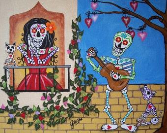 SERENADE Folk Art Day of the Dead Singer Balcony Lady Cat DOD Illustrated Art Print Poster Art Ellison Multiple Sizes available