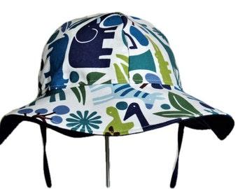 Baby Sun Hat, Toddler Sun Hat, Boy Sun Hat, Floppy Beach Hat, Newborn Hat, Wide Brim Summer Hat, Jungle Animals Cotton Hat, Baby Gift
