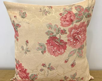"""Vintage Fabric 1980's Floral Cushion Cover Decorative Pillow. Yellow and Pink Flowers. 16""""/18"""". Cushion Made Australia"""