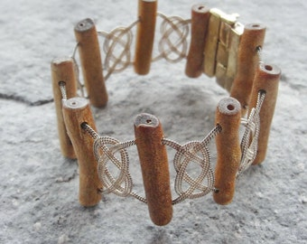 Sterling Silver Coral Bracelet Woven Sterling Silver jewelry with Brass