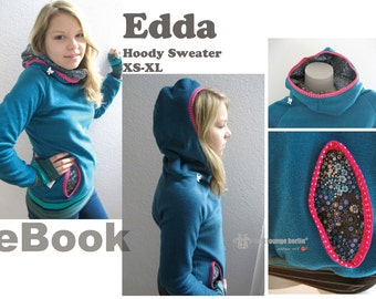 Us-Edda *** Hoodie eBook sewing picture instruction e-Book pattern XS-XXL design with LOVE by firstloungeberlin