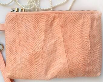 Salmon Leather Purse\Fish Leather Clutch\Exotic Leather Handbag\Salmon Skin Purses\GenuineLeather\Desiner's Purse\Evening Clutch\Fashionable