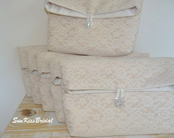 SET of 9 Fold Over Lace Clutches, Bridesmaid Wedding Purses, Bridesmaid Gifts