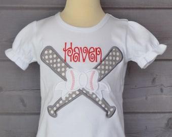 Personalized Baseball Softball Bat Bow Applique Shirt or Bodysuit Girl