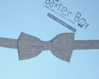 READY TO SHIP ---- Light Grey polyester little boy bow tie -  photo prop, wedding, ring bearer, accessory
