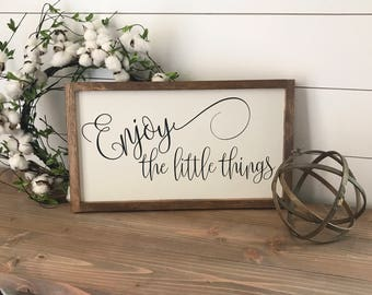Enjoy the little things 20x12 MORE COLORS / hand painted / wood sign / farmhouse style / rustic