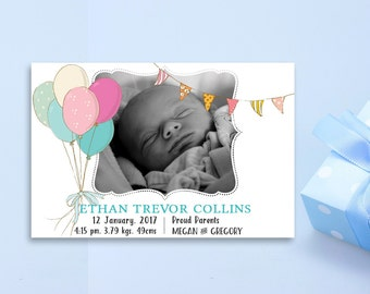 New Baby Announcement, Custom Birth Announcement Card, Boy Photo Birth Announcement, Printable Boy Birth Announcement, Baby Boy Announcement