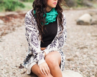 EASTSHORE SCARF | Cozy Circle Scarf | Crochet Scarf | Gifts for Her | Winter Fashion | Women's Scarves | Green Scarf | Under 30