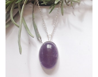 Amethyst pendant, amethyst necklace, Sterling silver and amethyst necklace, gemstone necklace, gif for her, birthstone necklace