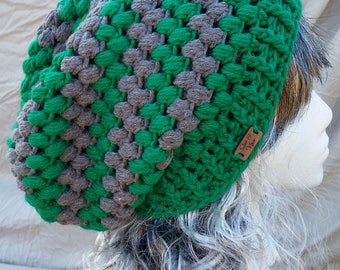 Green and Gray Slouch Beanie