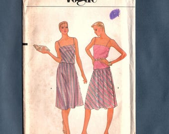 Vogue 7937 Misses Shoulder Strap Top, Straight Skirt, Full Skirt Sewing Pattern, Vintage 70's Sewing Pattern Size 14, Bust 36, Uncut Pattern