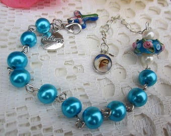 MURANO LAMPWORK Rose Relief beads, Fx Pearl Decade Rosary Bracelet, MEDAL, Cloisonne Cross: 2 Choices of color