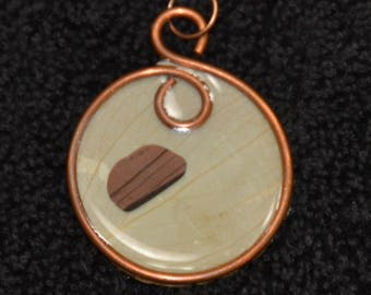 Handmade recycled copper and resin pendant
