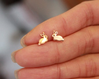 Bunny Stud Earrings,Rose Gold Rabbit Stud Earrings, Tiny Stud Earrings,Silver Gold Animal Stud Earrings, Children Earrings, pet lover,