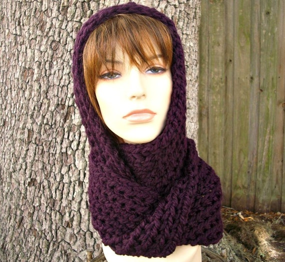 Purple Womens Hat Purple Hooded Scarf Purple Hat - Gretel Wrap in Eggplant Purple Crochet Hat - Purple Scarf Purple Wrap Womens