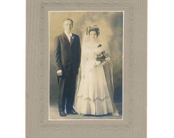 wedding couple sepia photo, mounted portrait, 1910's