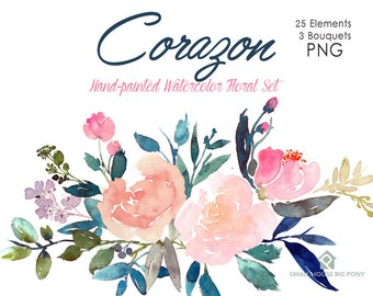 Digital Clipart- Watercolor Flower Clipart, peonies Clip art, Floral Bouquet Clipart, wedding flowers clip art- Corazon Elements