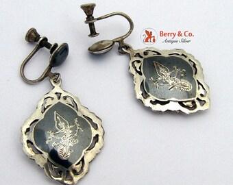 SaLe! sALe! Niello Silver Earrings Sterling Silver Siamese Dancers Designs