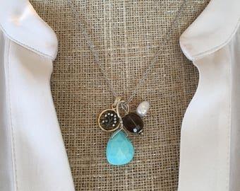 Tree Charm Necklace with Peruvian Opal, Smoky Quartz & Pearl