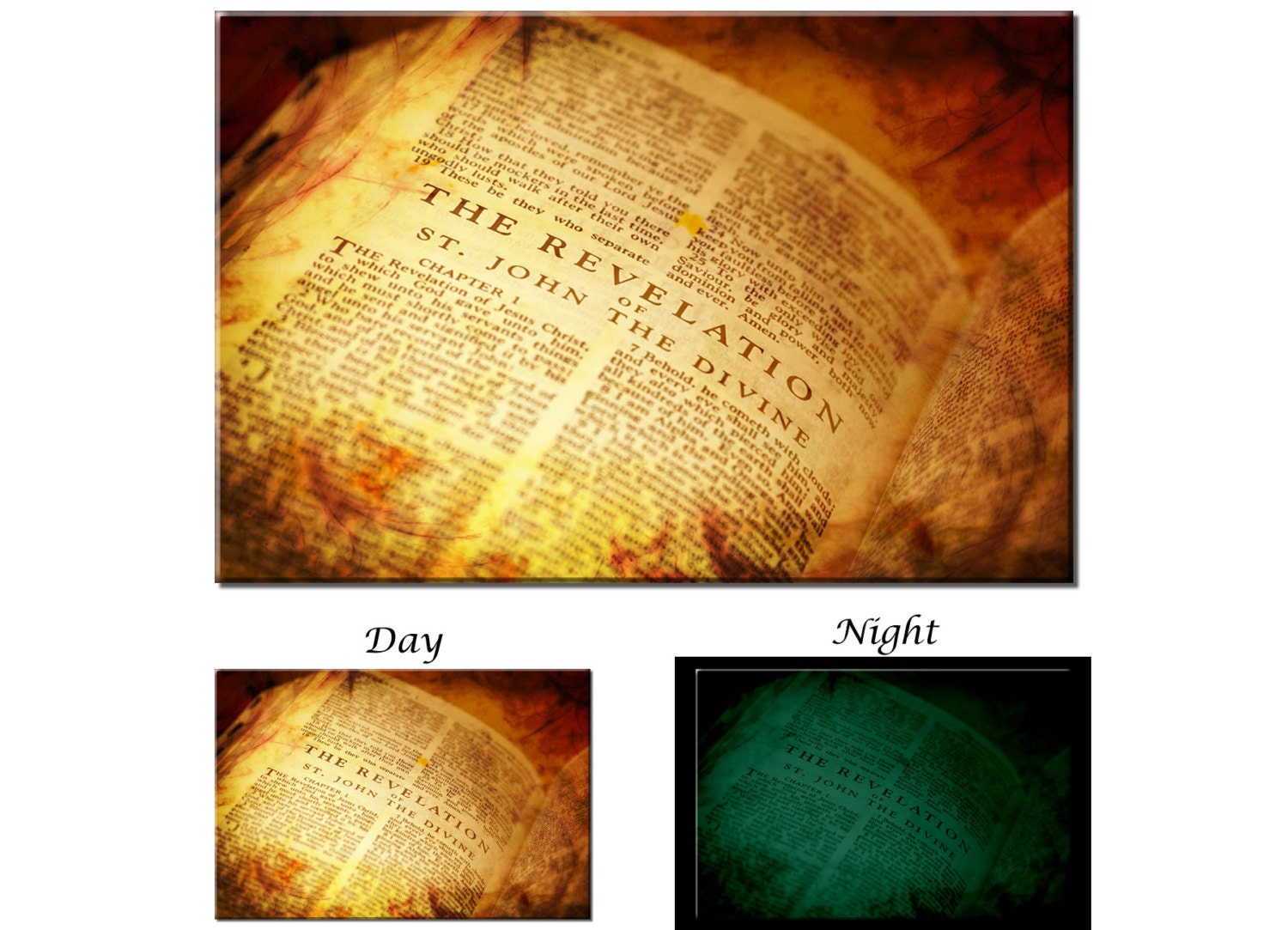 Glow in the Dark Canvas Wall Art - Christian Holy Bible Religious ...