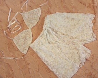 Vintage Inspired Lace Bralette and Wrap Around Tap Pant Lingerie-Bridal-Honeymoon-Gift for her-CHoice of laces-CRBoggs Original Design