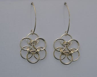 Argentium Silver Helm Flower Chain Mail Earrings