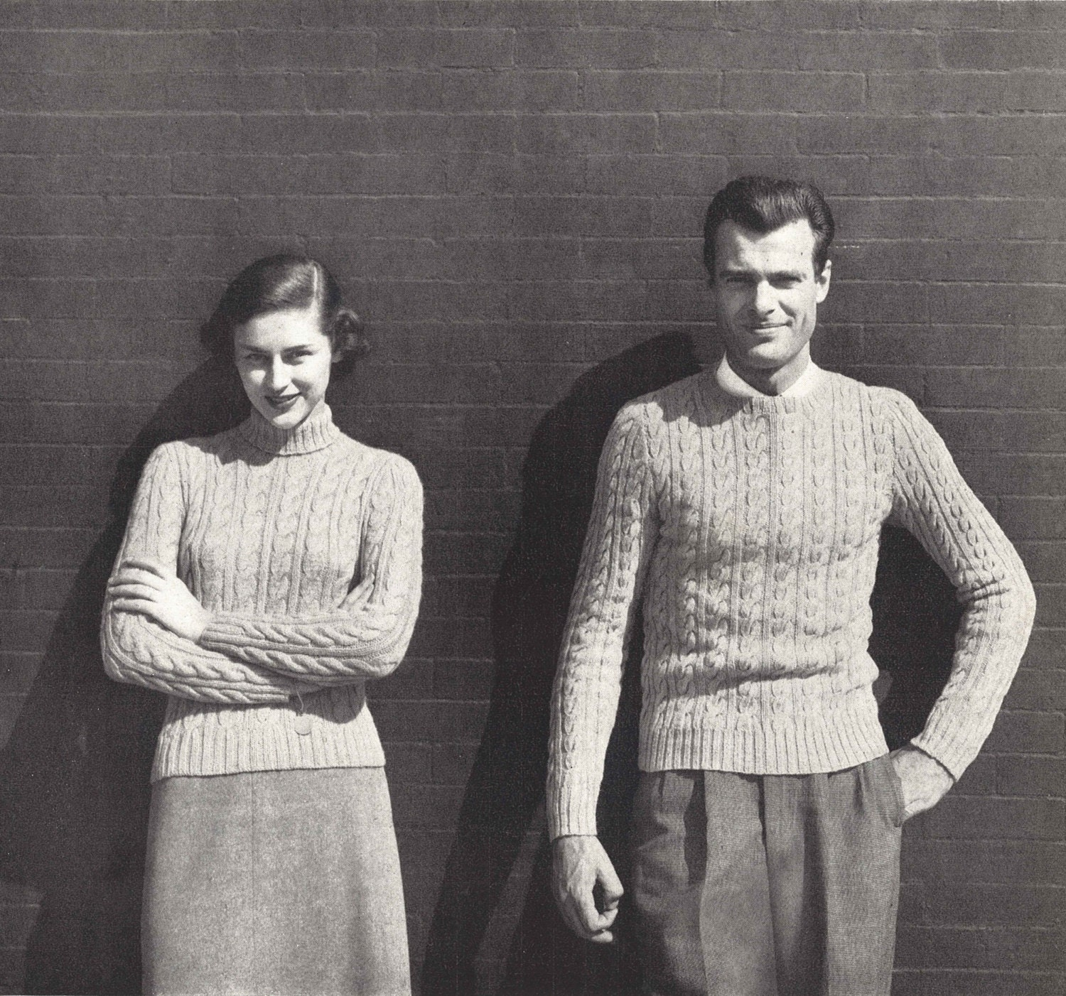 His & Hers Cables 1940s Knitting Knit Turtleneck Tennis