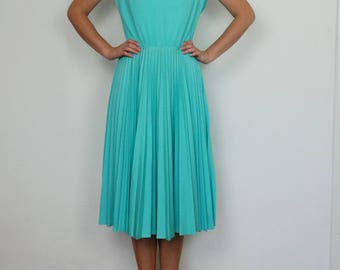 vintage 70s Turquoise blue pleated concertina sun dress S M