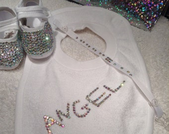 Angel Baby christening shoe,bib and dummy clip set with gorgeous sparkling crystals