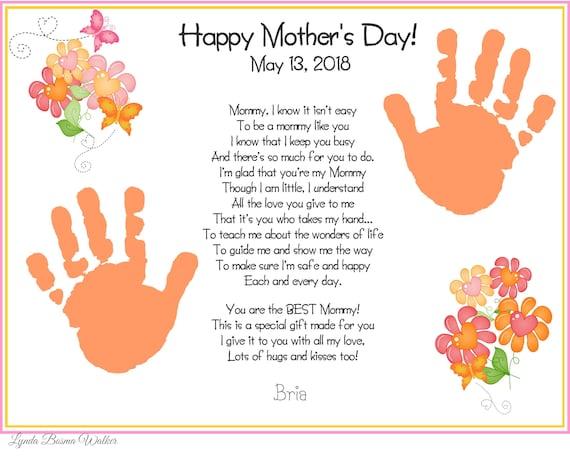 a mommy like you handprints poem mother 39 s day gift for. Black Bedroom Furniture Sets. Home Design Ideas