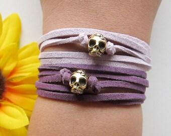 skull wrap bracelet - gold skull charm with suede leather cord bracelet - bohemian bracelet - friendship bracelet - inspirational bracelet