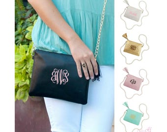 Monogrammed Crossbody Handbag Personalized Purse Gold Chain Vegan Leather Bag Gold Rose Pink Blush Camel Brown Black Embroidered Monogram