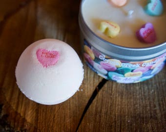 Be Mine 3.5oz Bath Bomb. Moisturizing, Gifts for her, Bath Fizzy, Conversation hearts, Valentines day