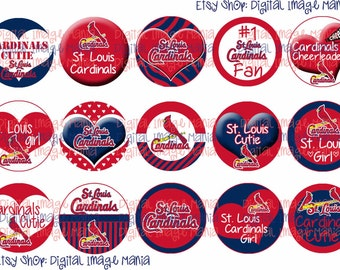 Instant Download St. Louis Cardinals Inspired 4x6 Digital Printable 1 Inch Circle Bottle Cap Images
