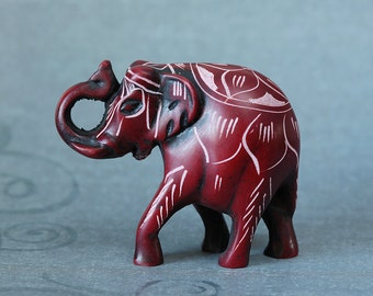 Lucky Red Elephant Carving from Nepal