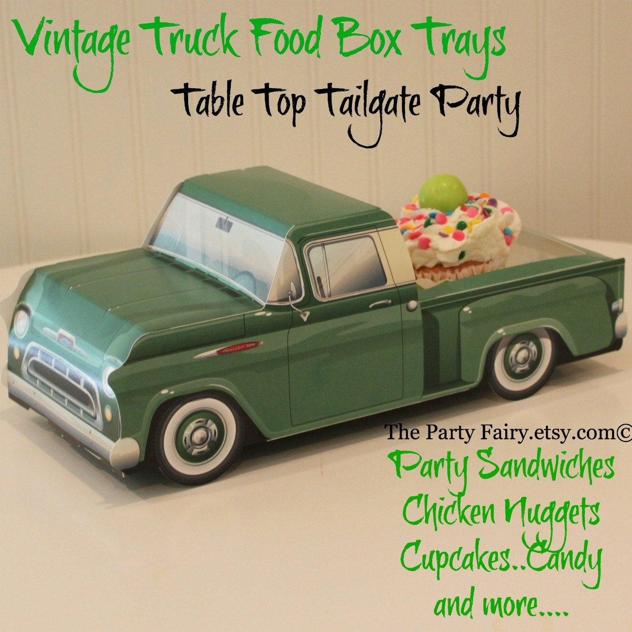 Food Truck Box 6 Vintage Green Trays Tailgate