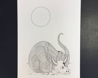 Décapité, Illustration originale à l'encre noire