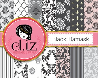 Black damask digital paper 'Black Damask' backgrounds, black and white digital paper, damask patterns x 14