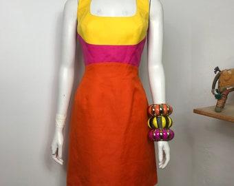 Vtg 80s colorblock Thierry Mugler open back body con dress rainbow avant garde