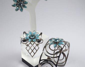 Vintage Jewelryset-Signed jewelry-designer rhinestones-3-piece Parure-1940s-Bugbee & Niles-Gift-Ohrschrauben-Bracelet